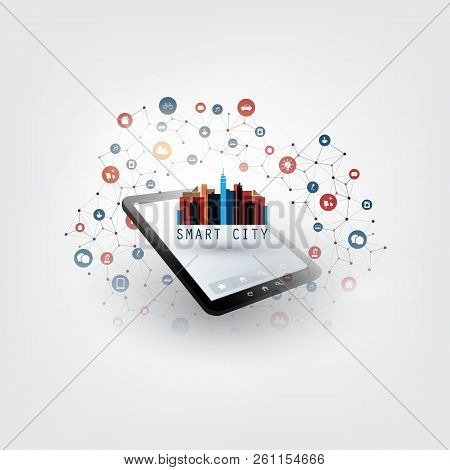 Colorful Smart City, Cloud Computing Design Concept With Icons - Digital Network Connections, Techno