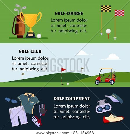 Set Of Golf Banner, Clothes And Accessories For Golfing, Website Header Set For Golf Tournaments, Cl