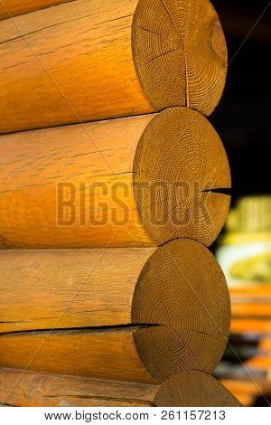 Blockhouse Wooden Logs Vertical Postcard Background Wallpaper