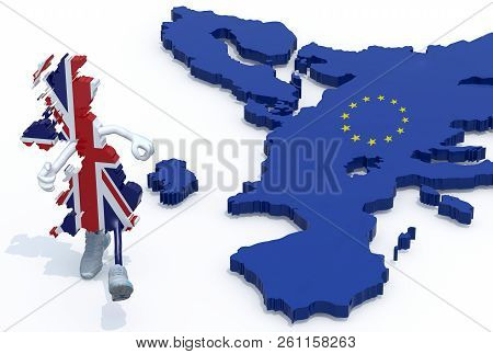 Map Of United Kingdom With Arms, Legs And Sneackers On His Feet That Runs Away From Europe, 3d Illus