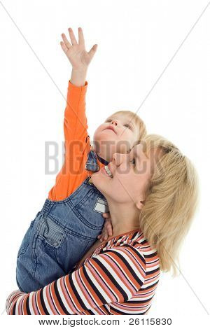 happy family mother and baby show hand up over white background