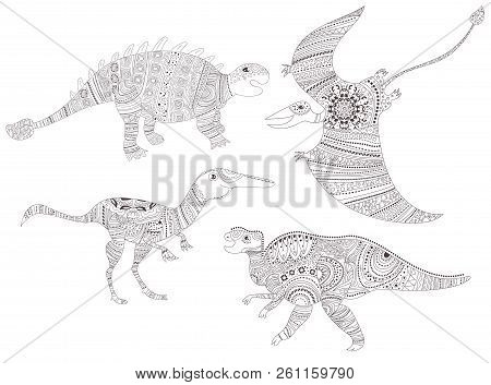 Dinosaur. Coloring Page For Child And Adults Vector. Cartoon. Isolated