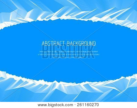 Abstract Vector Background With Fantastic Landscape Terrain Of Cosmic Planet, Geometric 3d Line Art