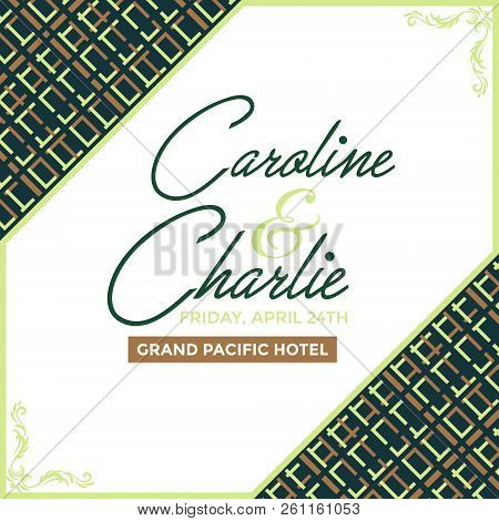 Invitation Card Geometric Pattern With Green, Brown, And Black Color For Invitation Card, Greeting C
