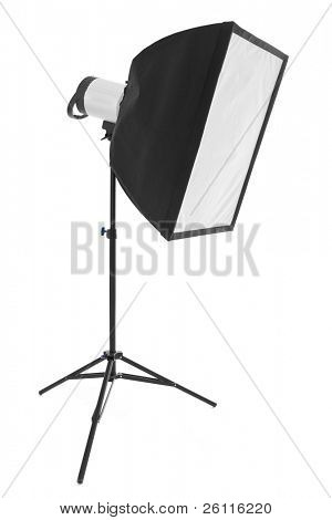 phototechnique light on tripod over white background