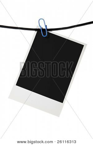 palaroid blank clip rope over white background