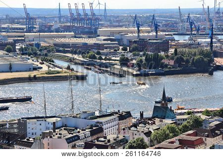 Hamburg, Germany - August 28, 2014: Aerial View Of Port Of Hamburg In Germany. The Seaport Is The 15