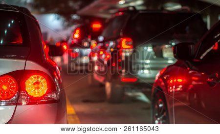 Transportation Vehicle And Traffic Concept - Blurred Traffic Jam And Brake Light In Bangkok, Thailan