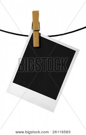 palaroid blank clothes-peg rope over white background