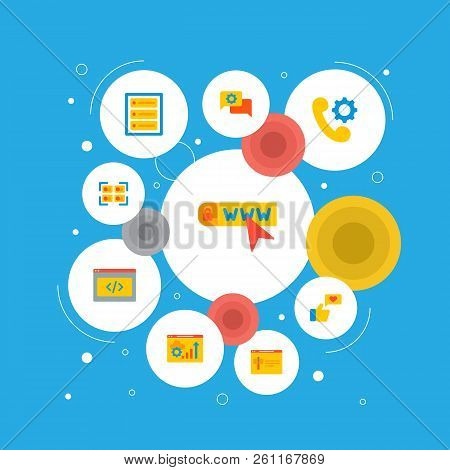 Set Of Website Development Icons Flat Style Symbols With Domain, Error Page, Database And Other Icon