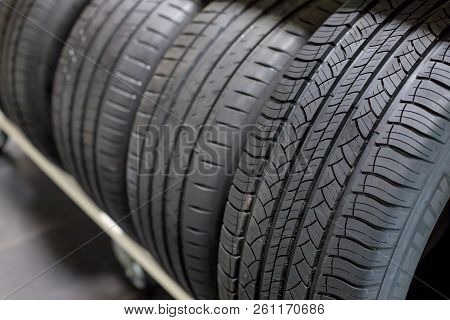 Tires On Sale.new Compact Vehicles Tires Stack. Winter And Summer Season Tires.close Up On All Seaso
