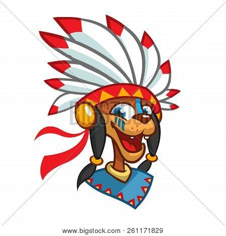 Cartoon Native American Character Head Icon. Vector Illustration Of Native American Chief With Feath