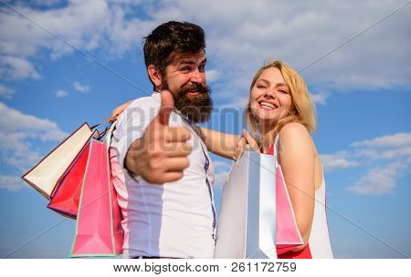 Man With Beard Shows Thumb Up Gesture. Advice To Buy Now. Happy Family Shoppers. Couple In Love Reco