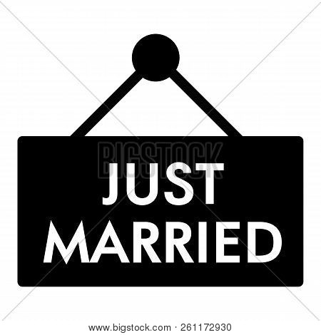 Just Married Solid Icon. Plank Just Married Illustration Isolated On White. Wedding Glyph Style Desi