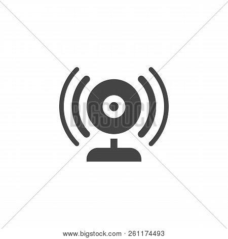 Broadcasting Via Webcam Black Flat Icon. Web Camera And Sound Waves Label. Blogging, Vlogging, Strea