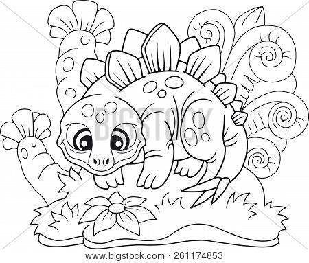 Cartoon Cute Stegosaurus, Funny Illustration Coloring Book