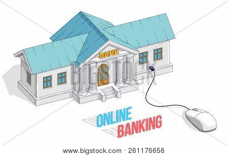 Online Banking Concept, Bank Building With Computer Mouse Connected Isolated On White Background. Ve