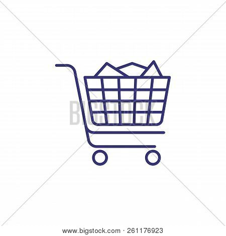 Full Handcart Line Icon. Purchase, Online Shop, Trolley. Shopping Concept. Vector Illustration Can B