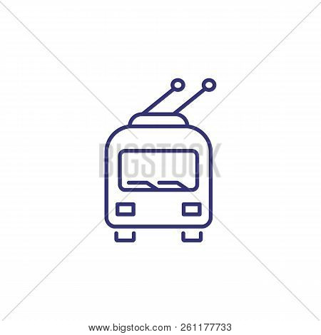 Trolleybus Line Icon. Station, Public Transport, Van. Transport Concept. Vector Illustration Can Be