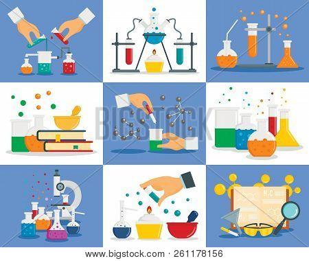 Chemistry Reaction Banner Set. Flat Illustration Of Chemistry Reaction Vector Banner Set For Web Des