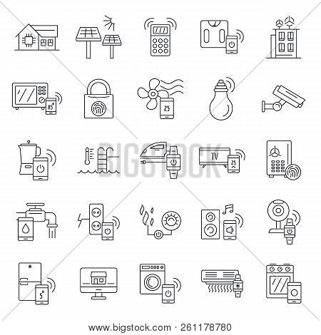 Intelligent Building Icon Set. Outline Set Of Intelligent Building Vector Icons For Web Design Isola