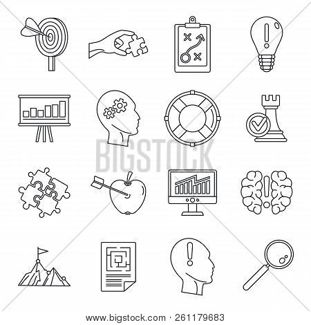 Problem Solution Icon Set. Outline Set Of Problem Solution Vector Icons For Web Design Isolated On W