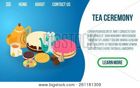 Tea Ceremony Concept Banner. Isometric Banner Of Tea Ceremony Vector Concept For Web, Giftcard And P