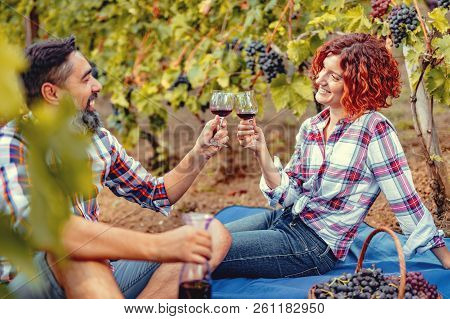 Beautiful Happy Smiling Couple Are Having A Picnic In A Vineyard And Toasting With Wine For Successf