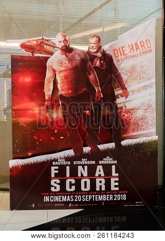 Kuala Lumpur, Malaysia - September 29, 2018:  Final Score Movie Poster. This Movie Is About Ex-soldi