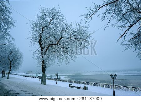 Winter Nature, Evening Snowy  City Landscape, River