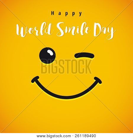 World Smile Day Festive Greetings With Letters. World Congrats. Coloured Smiling Characters Set. Con
