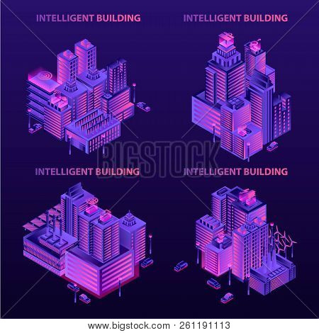 Intelligent Building Banner Set. Isometric Set Of Intelligent Building Vector Banner For Web Design