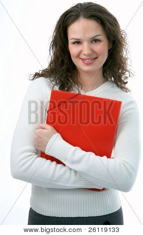 beauty woman with folder for documents