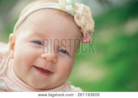 Happy Little Baby Smiling. Happy Newborn Baby. Adorable Little Girl Smile. Parenting Time. Happy Chi