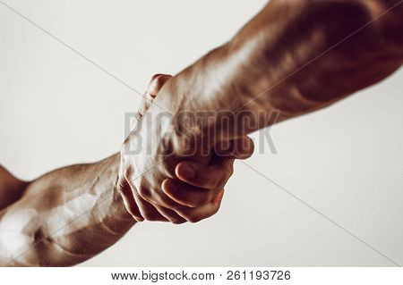 Rescue, Helping Gesture Or Hands. Strong Hold. Two Hands, Helping Hand Of A Friend. Handshake, Arms,