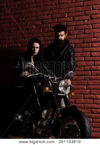 Biker Couple. Biker Couple In Leather Jacket. Sexy Biker Couple With Motorcycle. Biker Couple Travel