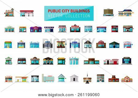 Vector Flat Cartoon Style Modern City Building, Market, Fast Food Cafe, Restaurant, Shop, Store Faca