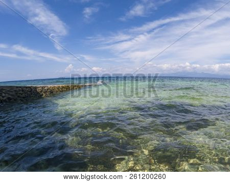 Seaside Landscape In Fisheye Lens, Tropical Seashore Photo. Turquoise Blue Sea Water And Blue Sky Do