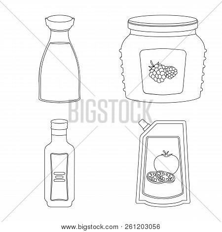 Vector Illustration Of Can And Food Logo. Set Of Can And Package Vector Icon For Stock.