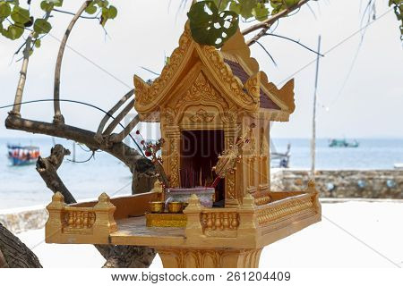 Golden Buddhist Shrine On Seaside Of Koh Rong Island, Cambodia. Traditional Religion Of Khmer People