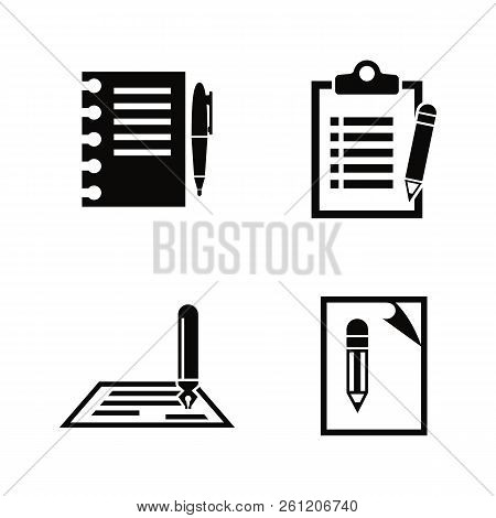 Writing, Edit, Write. Simple Related Vector Icons Set For Video, Mobile Apps, Web Sites, Print Proje
