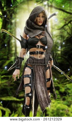 Mysterious Wood Elf Warrior In A Mystical Forest Setting. Fantasy 3d Rendering