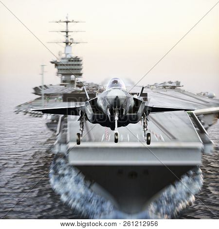 Carrier Jet Takeoff . Advanced F-35 Aircraft Jet Taking Off From A Navy Aircraft Carrier. 3d Renderi