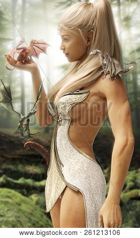Fantasy Wood Elf Female And Her Three Mythical Dragons In An Enchanted Forest. 3d Rendering