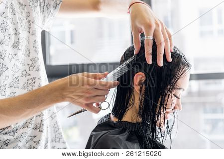 Professional Hairdresser, Stylist Combing Hair Of Female Client In Professional Hair Salon. Beauty A