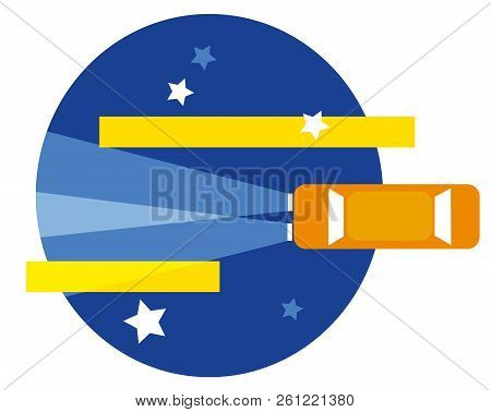 Night Ride For Travel.  Illustration Of  Driving A Car Behind Of Stars In The Night.