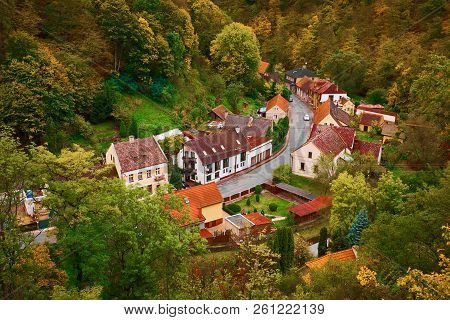 Scenic Landscape View Of Picturesque Rural Village Houses In The Mountain Forest Valley In Autumn At