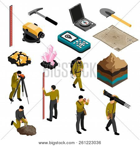 Geologist Tools Supplies Gear Accessories Isometric Icons Set With Minerals Hardness Kit Map Compass