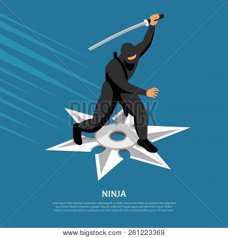 Unbeatable Ninja Warrior Character In Action Pose On Silver Star Symbol Isometric Blue Background Po