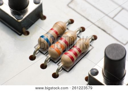 Resistor On Circuit Board Close Up. Electronic Hardware